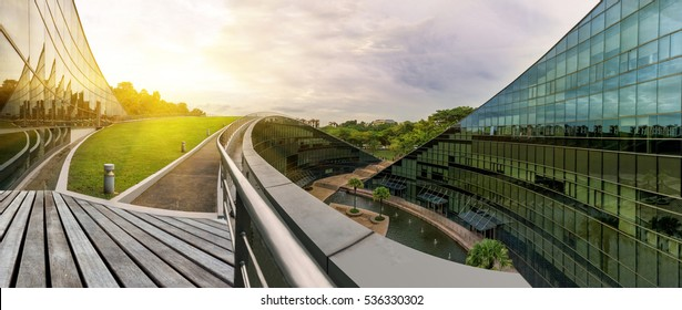 SINGAPORE - October 24, 2016: Modern architectural building of Nanyang Technological University in Singapore. Citylandscape Nanyang Technological University, Singapore.