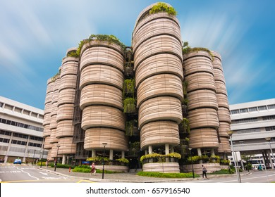 SINGAPORE - OCTOBER 24, 2016: Modern Architectural Building of Nanyang Technological University in Singapore. Cityscape Landmark of Contemporary Architecture Buildings of Singapore