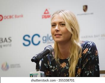 SINGAPORE, SINGAPORE - OCTOBER 24 :  Maria Sharapova talks to the media at the 2015 WTA Finals All-Access Hour