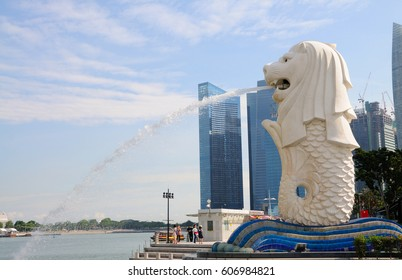 SINGAPORE - OCTOBER 26: A view of Merlion at Merlion Park on October 26, 2016 in Singapore. The Merlion is widely used as a mascot and national personification of Singapore.