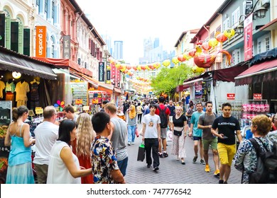 Singapore, Singapore - October 29, 2017 : Chinatown in Singapore, the famous place for tourists to visit many shops and street food near Chinatown MRT station