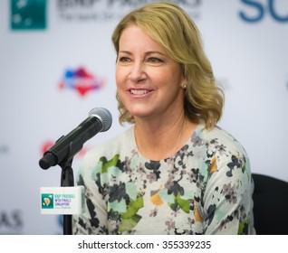SINGAPORE, SINGAPORE - OCTOBER 29 : Chris Evert talks to the media at the 2015 WTA Finals