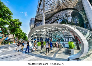 SINGAPORE - OCTOBER 3, 2018: Front entrance Subway of ION Orchard shopping mall ,ION is one of famous shopping malls in Singapore.