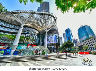 SINGAPORE - OCTOBER 3, 2018: ION Orchard shopping mall ,ION is one of famous shopping malls in Singapore.