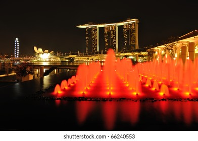 SINGAPORE - OCTOBER 30: Asia's First Sustainable Light Art Festival at Marina Bay October 30, 2010 in Singapore.