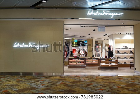 9fff37b5bfb20 SINGAPORE - OCTOBER 4, 2017  Salvatore Ferragamo exclusive store in Changi  Airport, Singapore