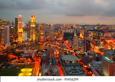 Singapore on a winter evening (Evening artificial lighting in the city)