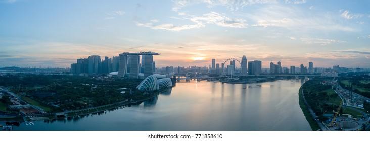 Singapore panorama city skyline and Singapore Flyer at Marina Bay cityscape by night