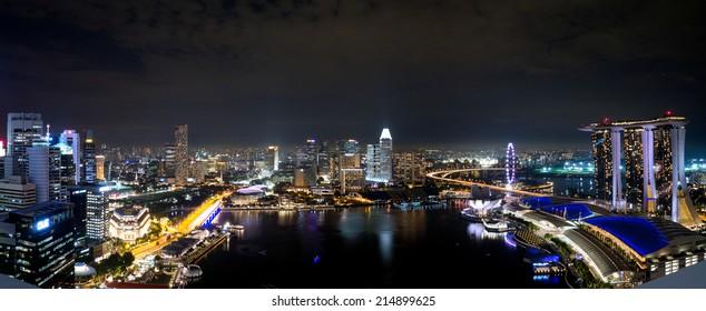 Singapore Panorama Skyline Cityscape at Night