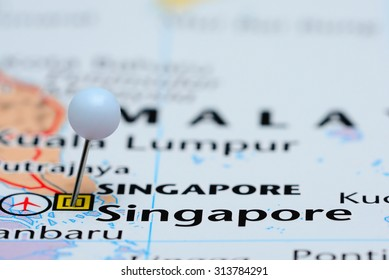 Singapore pinned on a map of Asia