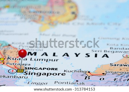 Singapore On The Map Of Asia.Singapore Pinned On Map Asia Stock Photo Edit Now 313784153