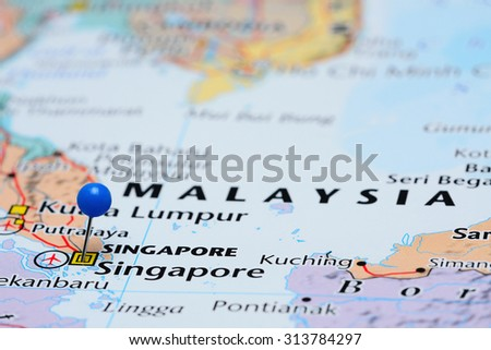 Singapore On The Map Of Asia.Singapore Pinned On Map Asia Stock Photo Edit Now 313784297