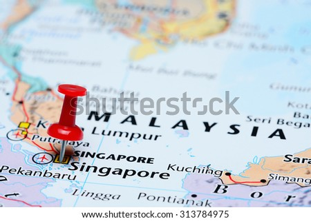 Map Of Asia Singapore.Singapore Pinned On Map Asia Stock Photo Edit Now 313784975
