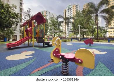 Singapore Public Housing Apartments Animal Ride at Children Playground in Punggol District