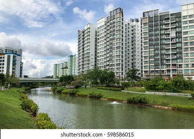 Singapore Public Housing Apartments in Punggol District, Singapore. Housing Development Board(HDB)