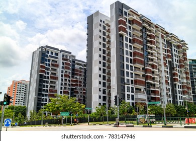 Singapore Public Housing Apartments in Punggol District, Singapore. Housing Development Board(HDB), low-rise condominium