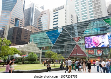 Singapore Raffles Place and Raffles Place Mall near Raffles Place MRT in the Central Business District Singapore, Singapore, Mar 2, 2018