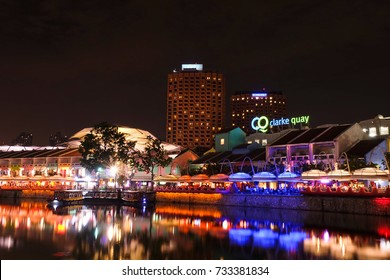 SINGAPORE - SEBTEMBER 30, 2017: Colorful light building at night in Clarke Quay