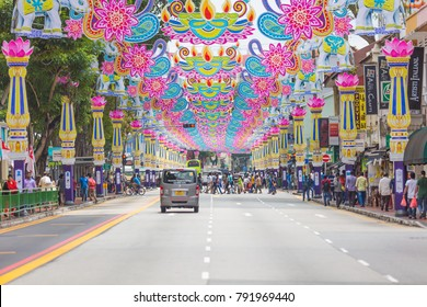 Singapore - Sep 1, 2017: Crowd of people across the road at Little India district. Little India is Singaporean neighbourhood east of the Singapore River.