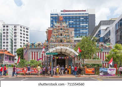 SINGAPORE - SEP 1, 2017: The Sri Veerama Kaliamman Temple in ethnic district Little India in Singapore. Little India is commonly known as Tekka in the local Tamil community.
