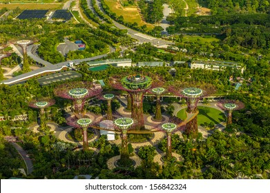 Singapore, Singapore - Sep 11 : Aerial view of Supertree Grove at Gardens By The Bay in Singapore taken on September 11, 2013