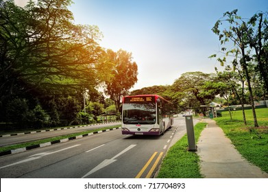 SINGAPORE - SEP 17, 2017: SBS bus travel on the Singapore street on September 17, 2017 in Singapore. SBS Transit Limited is a public transport operator in Singapore.