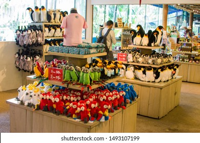 Singapore Sep 1st 2019: the souvenir shop of bird park. A lot of stuffed toys for sale, like penguin, parrots, macaw and  toucan.