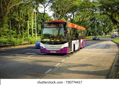 SINGAPORE- SEP 22, 2017: SBS bus travel on the Singapore street on September 22, 2017 in Singapore. SBS Transit Limited is a public transport operator in Singapore.