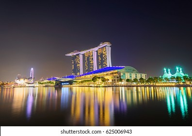 Singapore Sep 4 ,Beautiful laser show at the marina bay waterfront in Singapore 4 Sep 2015