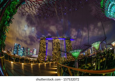 Singapore, Singapore - Sep 9 : Night view of  Supertree Grove at Gardens By The Bay in Singapore taken on September 9, 2013
