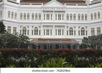 SINGAPORE - SEPT 8: The Raffles Hotel on September 8, 2016 in Singapore. Opened in 1899, it was named after Singapore's founder Sir Stamford Raffles.