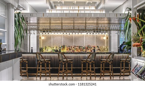 SINGAPORE SEPTEMBER 02 2018 , Interior bar of PS. Cafe at one fullerton on SEPTEMBER 02 2018