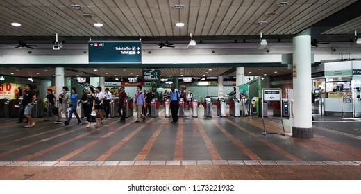 SINGAPORE - September 06, 2018: interior of MRT station. The Mass Rapid Transit, or MRT, is a rapid transit system forming the major component of the railway system in Singapore, spanning