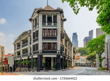 Singapore - September 08, 2019: Famous Club street in Chinatown with colorful colonial shop houses
