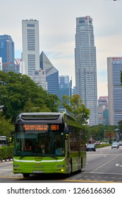 SINGAPORE - SEPTEMBER 1, 2018: Bus on the street of the famous asian tourist destination - Singapore.