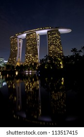 SINGAPORE - SEPTEMBER 10, 2012: Marina Bay Sands, designed by Moshe Safdie, the integrated resort casino and shopping center in Singapore. Sept 10 2012
