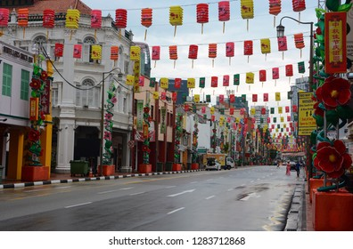 Singapore - September 10, 2018: View of South Bridge Road in Singapore's Chinatown