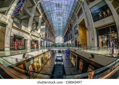 Singapore, Singapore, - September 11 : Fish eye shot of Marina Bay Sands Shopping Mall interior on September 11, 2013