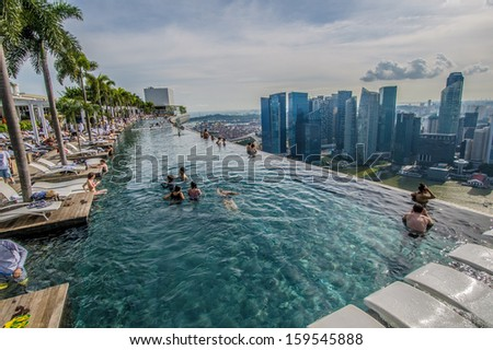 Singapore - September 11 : Pool view of city skyline at Marina Bay Sands sky garden taken in the day of September 11, 2013.