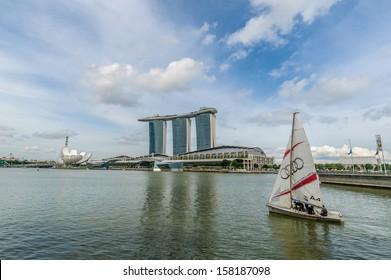 Singapore, Singapore - September 11 : Sailing in Marina reservoir against Marina Bay Sands Singapore as background taken on September 11, 2013
