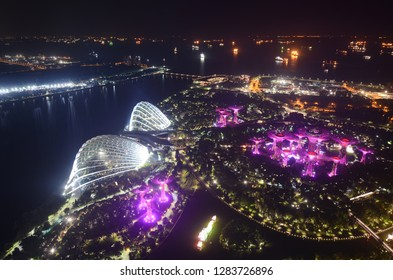 Singapore - September 14, 2018: Gardens by the Bay aerial view at night from the Sands SkyPark Observation Deck