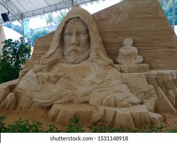 Singapore, Singapore - September 14 2019: Luke Skywalker sand sculpture at a Star Wars exhibition on Sentosa Island