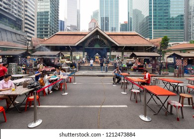 SINGAPORE - September 15, 2018 : Lau Pa Sat Festival Market was formerly known as Telok Ayer Market - now it is a popular catering, popular food court hawker center.
