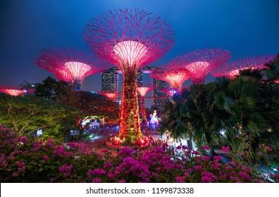 SINGAPORE - September 15, 2018: Night shot of Marina Bay city scape, Singapore