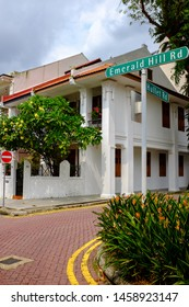 Singapore / Singapore - September 15 2018: Road street sign for Emerald Hill Rd and Hullet Rd corner in Singapore
