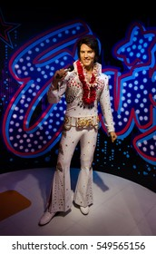 Singapore - September 15,2015 : The wax figure of Elvis Aaron Presley in Madame Tussauds Singapore.