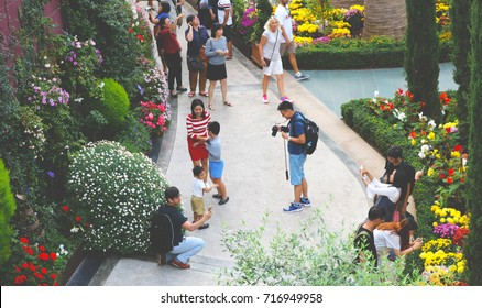 SINGAPORE - September 16, 2017: Visitors seen Gardens By The Bay Singapore crowded flower gardens and mutually immortalize images in the venue