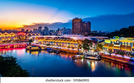Singapore - September 18, 2016: A Sunday sunset in Clark Quay area, sides of Singapore river ...