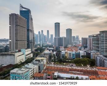 Singapore - September 18 2019 : Evening beautiful aerial view of skyline around Bugis district.