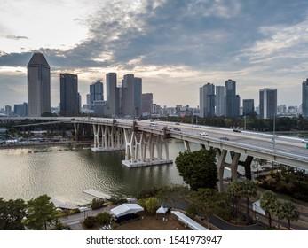 Singapore - September 18 2019 : Evening beautiful aerial view of skyline around Benjamin Sheares Bridge and Marina Bay area.